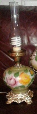 Vintage Table Lamp Lantern Hurricane Style Glass Floral Globe
