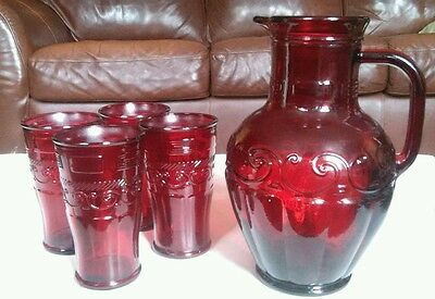 Vintage Cranberry Red Pitcher 4 Tall Glasses Jug