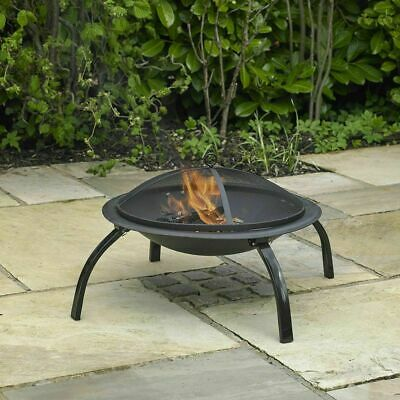 Outdoor Garden Fire Pit Patio Heater Bbq Steel Barbecue Black Round Burner