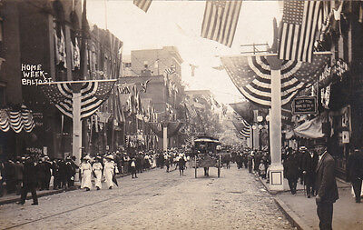 RP; Baltimore Street decorated For Home Week, Cumberland , Maryland, 00-10s
