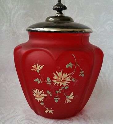 Antique PHOENIX Consolidated Red Satin Glass Enameled BISCUIT CRACKER JAR