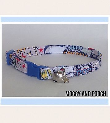Handmade Superhero Words Cat Collar, Safety Release Buckle, Bell And Charm