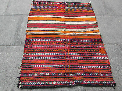Old Hand Made Persian Oriental wool Red Colourful kilim 135x110cm
