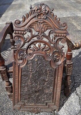 Early 1800's HUGE Norwegian Throne Gothic Ornate Chair