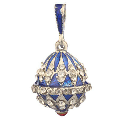 Faberge Egg Pendant / Charm with crystals 2.3 cm blue #0804-11