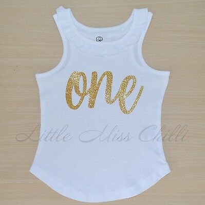 ONE 1st Birthday Boys or Girls Tank cake smash first outfit tee top onesie suit
