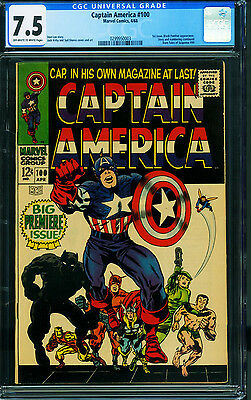 CAPTAIN AMERICA #100 cgc 7.5 First issue! 1968-BLACK PANTHER 0299950003