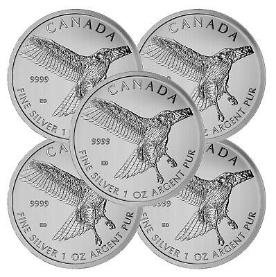 Lot of 5 - 2015 Canadian 1oz Silver Red-Tailed Hawk $5 Coin .9999 Fine BU
