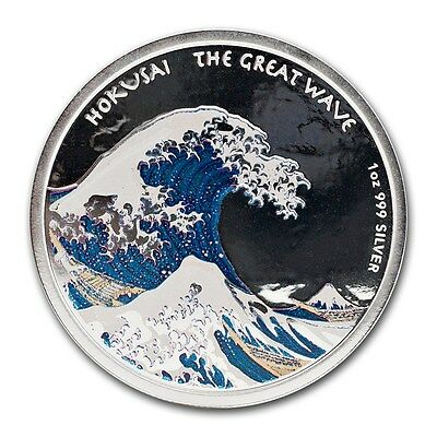 """2017 1 Ounce Fiji """"Hokusai"""" Great Wave Colored Proof Silver Coin Set"""