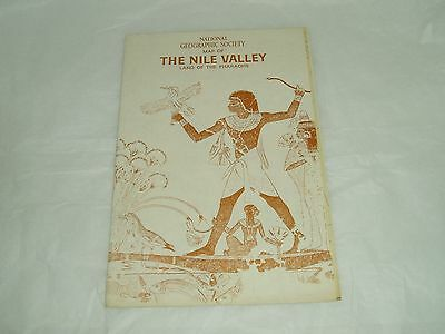 Vintage National Geographic Society Map  NILE VALLEY, PHAROHS 1965