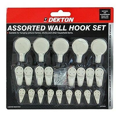 22pc Assorted Hard Wall Hooks Picture Frame Hanging Hooks