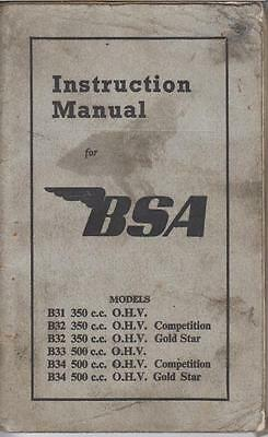 Bsa B31 B32 B33 B34 Incl Competition & Gold Star 1953 Owners Instruction Manual