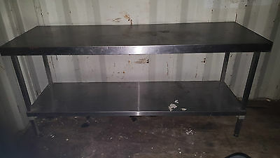 Long Stainless Steel Catering Prep Bench Table Work Surface with Shelf