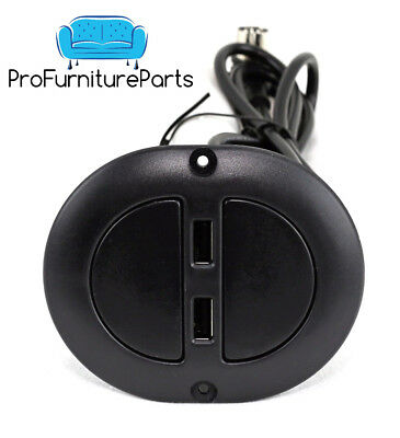 Oval Dual USB 2 Button Recliner Switch W/ 5 Pin Plug By ProFurnitureParts