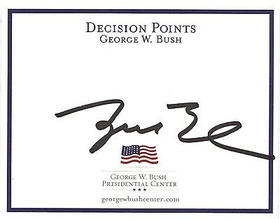 Hand Signed book plate autobiography GEORGE W BUSH - US President + COA