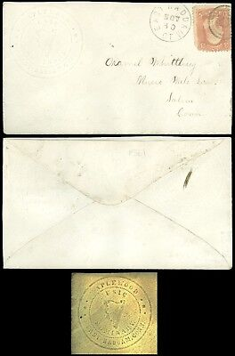 1860's EAST HADDAM CT CDS, MAPLEWOOD MUSIC SEMINARY Embossed Advert Cover SC #65