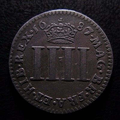 1687 James Ii Maundy Silver Fourpence With 6 Overstamped By 7