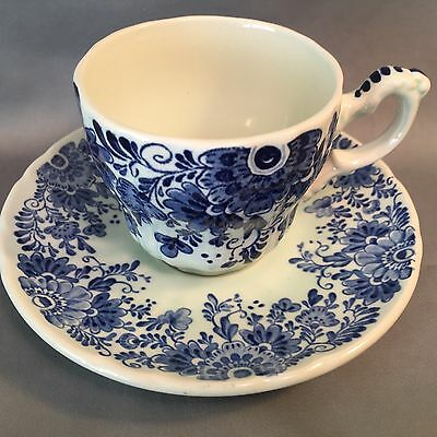 Vintage BOCH DELFTS Hand Painted Floral Blue and White TEACUP & SAUCER