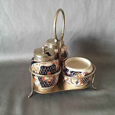 GAUDY WELSH 'Imari' Ceramic with EPNS Lids Three Piece CONDIMENT SET WITH STAND