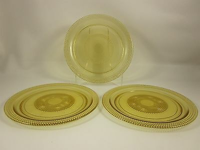 LE Smith Tiny Hobnail Yellow Glass Dinner Plates