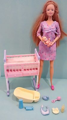 Barbie Happy Family Midge & Baby Dolls Nursery Crib Cradle Accessories No Belly