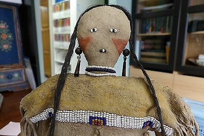 Antique Native American Plains Doll with Fringed Dress