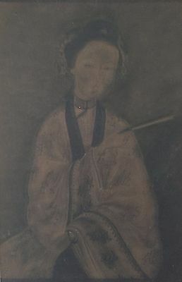 """Antique Chinese Ancestor Portrait """"woman"""" Watercolor Painting On Paper"""