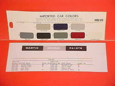 1944-1962 Volvo P1800 Sport Coupe 122S Sedan Pv544 Pv445 Pv444 Wagon Paint Chips