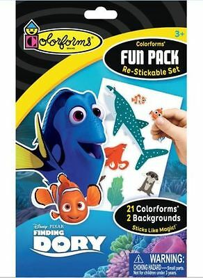 "Disney Pixar COLORFORMS ""Finding Dory"" For Ages 3+~21 Colorforms + 2 Backgrounds"
