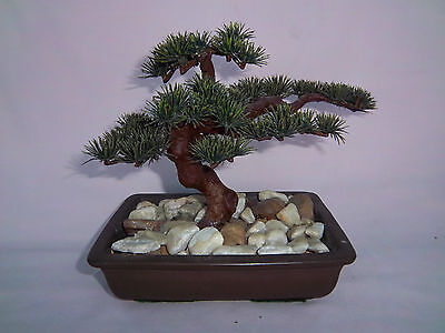 Bonsai Tree Artificial Potted Tree Permanent Marble Stones in heavy Pot Planter