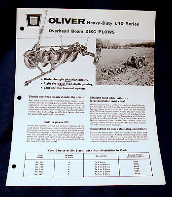 Vintage Oliver Corporation 140 Series Disc Plow Advertising Brochure - Ca. 1962!