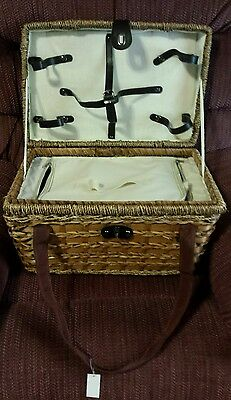 Nwt Picnic Basket Utensils Cups Plates Bed Bath Beyond +Xtras