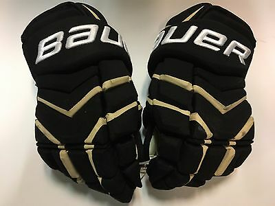 "Pittsburgh Penguins Bauer Total One NXG Black 14"" Game Used Worn Hockey Gloves"