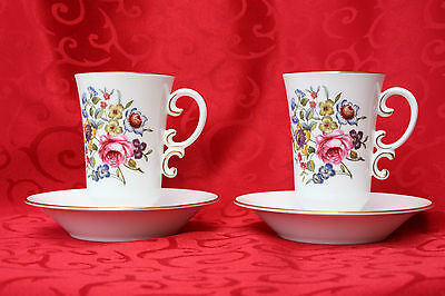 Vintage 1961 Royal Worcester Irish Coffee or Tea Cups Saucers Set of 2