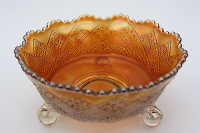 Vintage Iridescent Opalescent Amber Carnival 3-Footed Glass Candy Dish USA