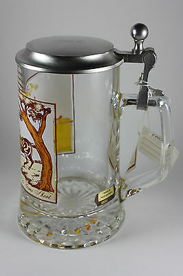 Vintage Pewter-Lidded Heavy Glass Beer Stein Treibjagd The Game Shoot Italy wTag