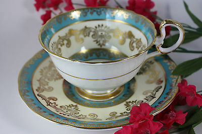 Vintage Aynsley Blue Yellow Gold Teacup & Saucer Set Bone China England