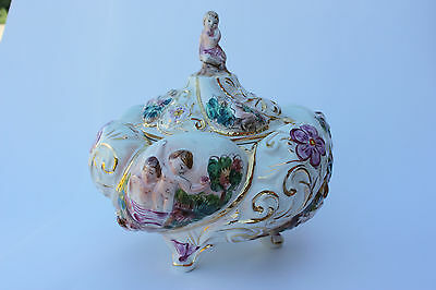 Capodimonte Nude Cherubs Finial Lidded Footed Gilt Ceramic Candy Dish Italy