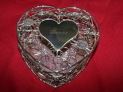 "2pcGold Mesh Wired Hinged Valentine Heart Box w/Lid Engraved ""Donna"" _6 1/2""_EUC"