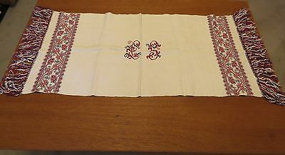 Antique Towel Table Runner Embroidered Monogram L S Cross Stitch Embroidery