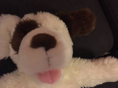 """Build A Bear Dog Barking Puppy Retired Fuzzy White Brown Paws Plush 16"""""""