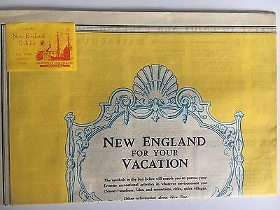 Large Vintage Folding Map of New England 1939 New York World's Fair Exhibit