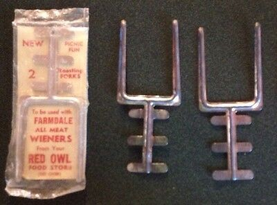 RARE Vintage Red Owl Food Store And Farmdale Roasting Forks