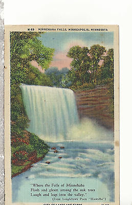 Minnehaha Falls  Minneapolis  MN  Mailed 1953   Linen Postcard 1307