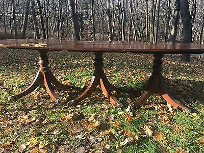 TRIPLE-PEDESTAL DINING - BANQUET TABLE MAHOGANY ANTIQUE 19th c DUNCAN PHYFE