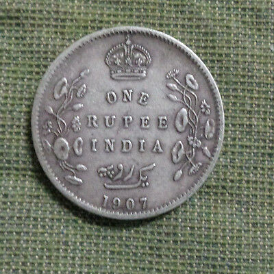 1907  British  India  One Rupee  Silver  Coin