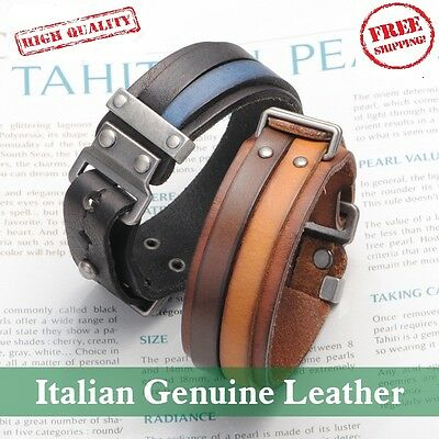 HOT Italian Genuine Leather Cuff Double Wide Men Bracelet & Rope Bangles Brown