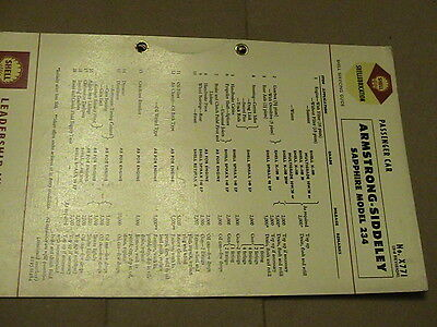 Armstrong Siddeley Sapphire 234 Shell Lubrication Chart Service Guide P/n X771
