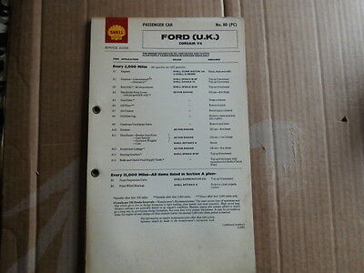 Ford Corsair V4 Shell Lubrication Chart Service Guide X80