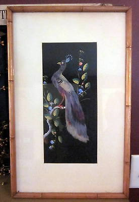 Vintage Bamboo Wood Framed Peacock Picture Real Bird Feathers Hand Painted
